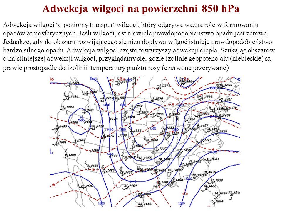 Adwekcja wilgoci na powierzchni 850 hPa Adwekcja wilgoci to poziomy transport wilgoci, który odgrywa ważną rolę w formowaniu opadów atmosferycznych. J