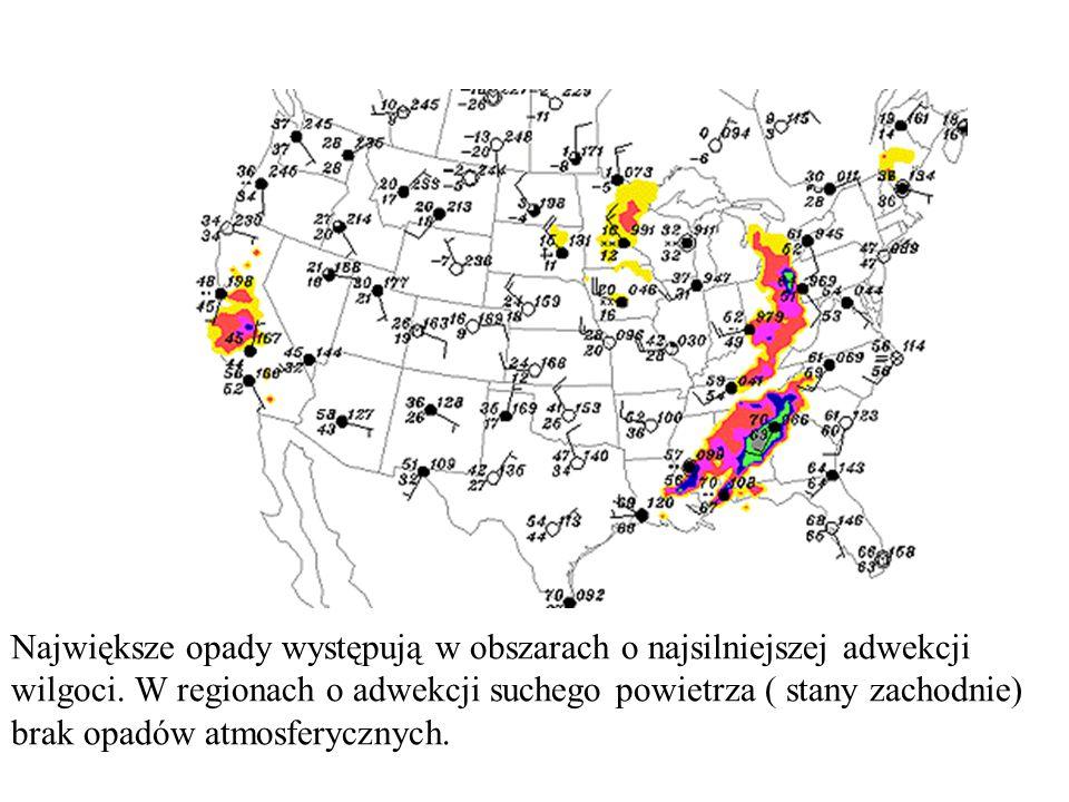 Największe opady występują w obszarach o najsilniejszej adwekcji wilgoci. W regionach o adwekcji suchego powietrza ( stany zachodnie) brak opadów atmo