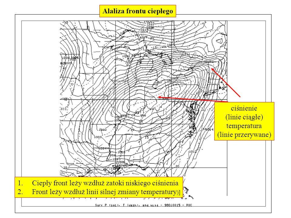 Alaliza frontu ciepłego 1.Ciepły front leży wzdłuż zatoki niskiego ciśnienia 2.Front leży wzdłuż linii silnej zmiany temperatury )] ciśnienie (linie c