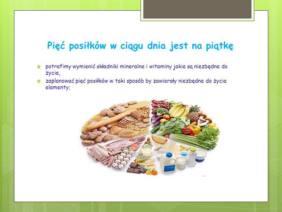 Pięć posiłków w ciągu dnia jest na piątkę  potrafimy wymienić składniki mineralne i witaminy jakie są niezbędne do życia,  zaplanować pięć posiłków w taki sposób by zawierały niezbędne do życia elementy;