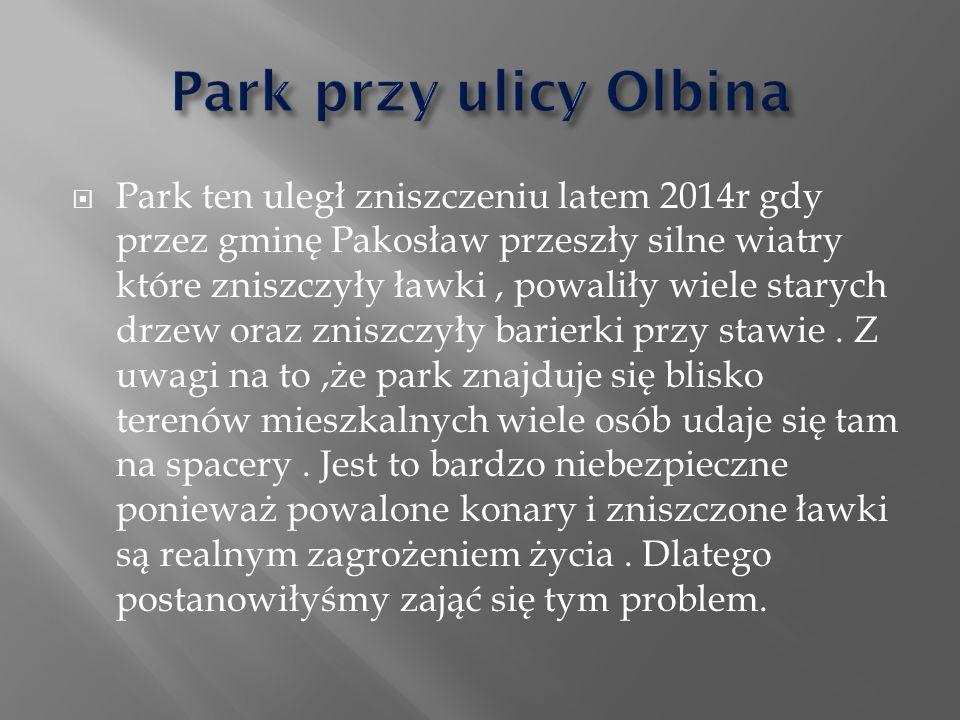  Park ten uległ zniszczeniu latem 2014r gdy przez gminę Pakosław przeszły silne wiatry które zniszczyły ławki, powaliły wiele starych drzew oraz zniszczyły barierki przy stawie.