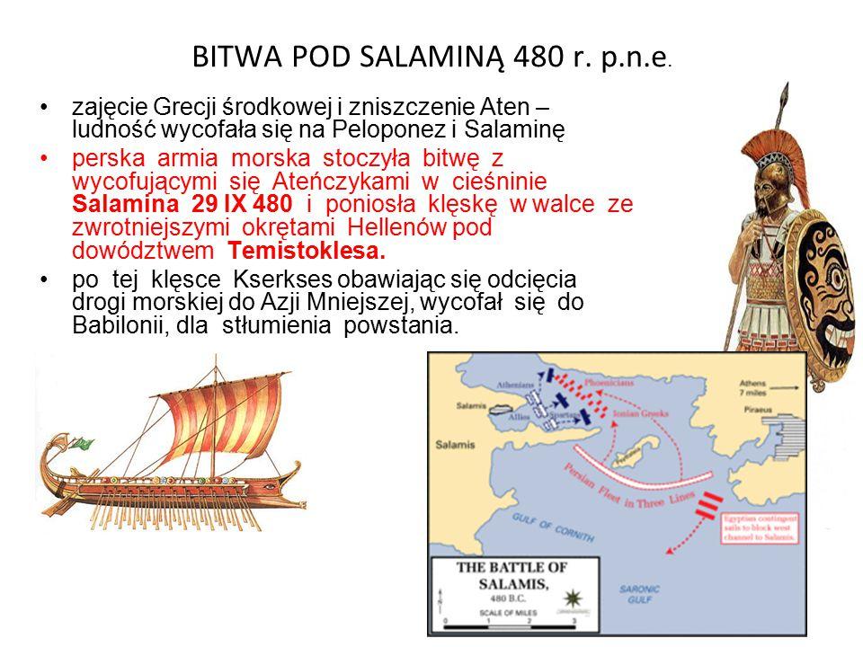 BITWA POD SALAMINĄ 480 r. p.n.e. zajęcie Grecji środkowej i zniszczenie Aten – ludność wycofała się na Peloponez i Salaminę perska armia morska stoczy