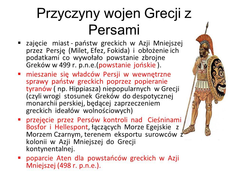  zajęcie miast - państw greckich w Azji Mniejszej przez Persję (Milet, Efez, Fokida) i obłożenie ich podatkami co wywołało powstanie zbrojne Greków w