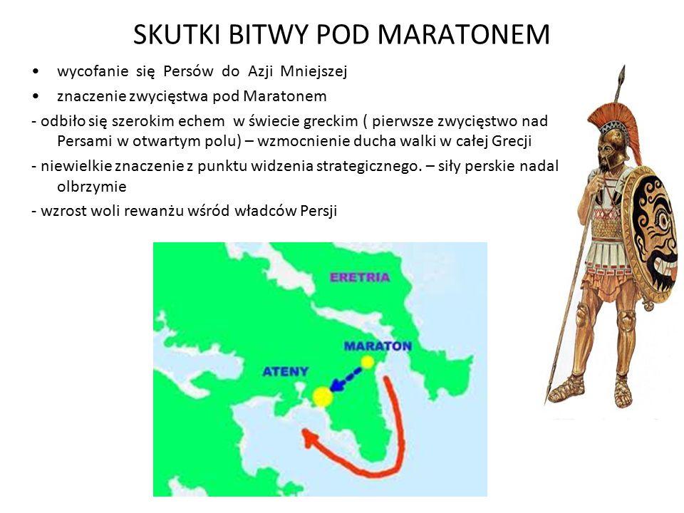 SKUTKI BITWY POD MARATONEM wycofanie się Persów do Azji Mniejszej znaczenie zwycięstwa pod Maratonem - odbiło się szerokim echem w świecie greckim ( p