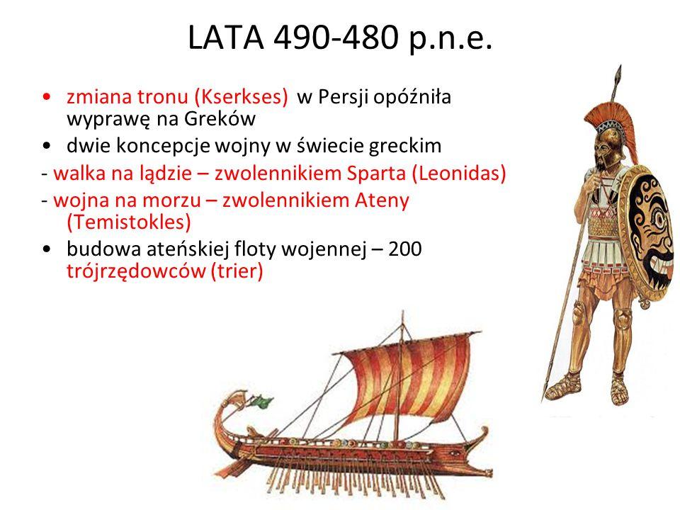 LATA 490-480 p.n.e. zmiana tronu (Kserkses) w Persji opóźniła wyprawę na Greków dwie koncepcje wojny w świecie greckim - walka na lądzie – zwolennikie