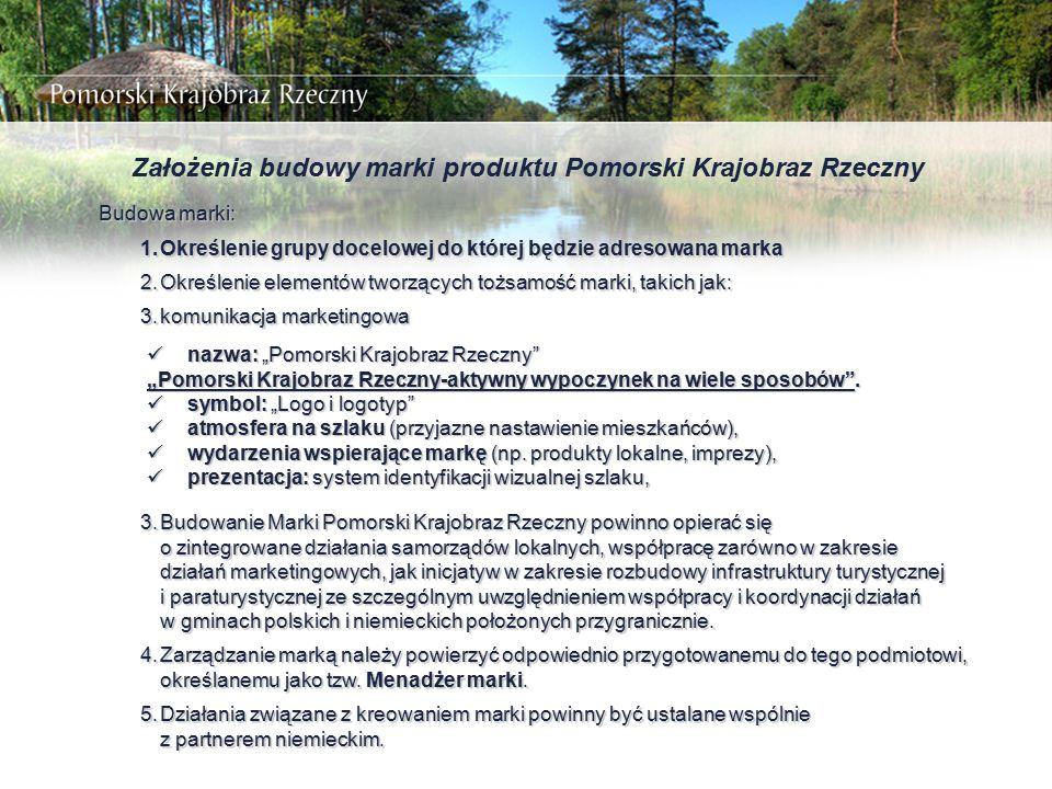 Założenia budowy marki produktu Pomorski Krajobraz Rzeczny Budowa marki: 1.Określenie grupy docelowej do której będzie adresowana marka 2.Określenie e