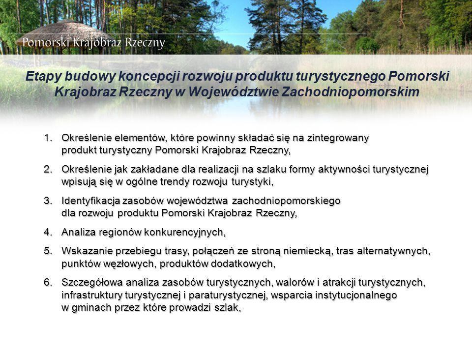 Etapy budowy koncepcji rozwoju produktu turystycznego Pomorski Krajobraz Rzeczny w Województwie Zachodniopomorskim 1.Określenie elementów, które powin