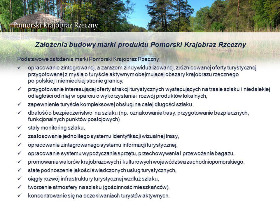 Założenia budowy marki produktu Pomorski Krajobraz Rzeczny Podstawowe założenia marki Pomorski Krajobraz Rzeczny: opracowanie zintegrowanej, a zarazem