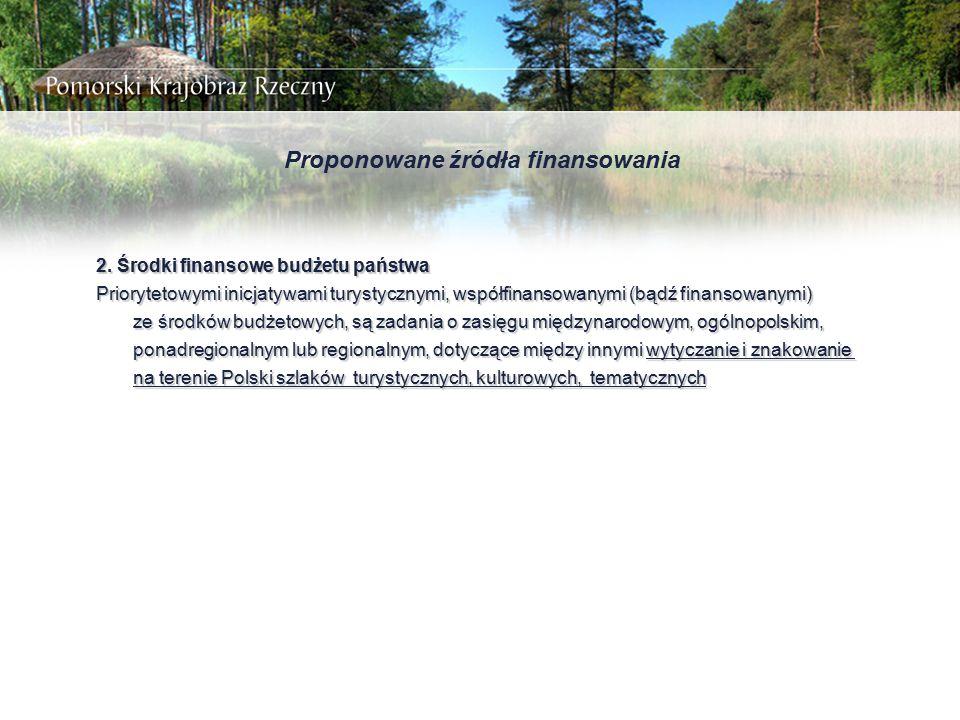 Proponowane źródła finansowania 2. Środki finansowe budżetu państwa Priorytetowymi inicjatywami turystycznymi, współfinansowanymi (bądź finansowanymi)