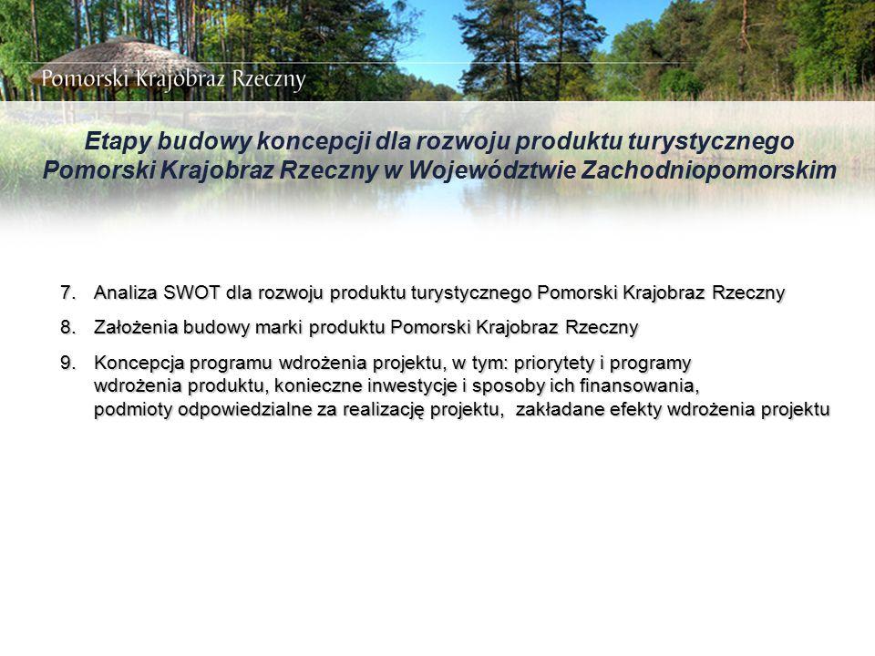 Etapy budowy koncepcji dla rozwoju produktu turystycznego Pomorski Krajobraz Rzeczny w Województwie Zachodniopomorskim 7.Analiza SWOT dla rozwoju prod