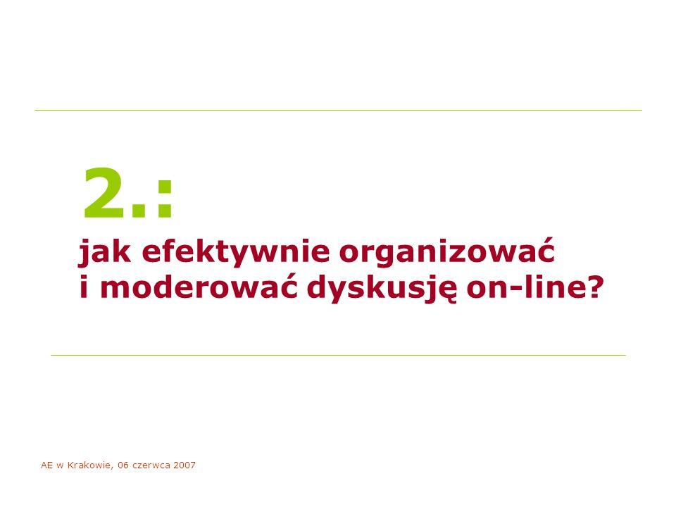 AE w Krakowie, 06 czerwca 2007 2.: jak efektywnie organizować i moderować dyskusję on-line
