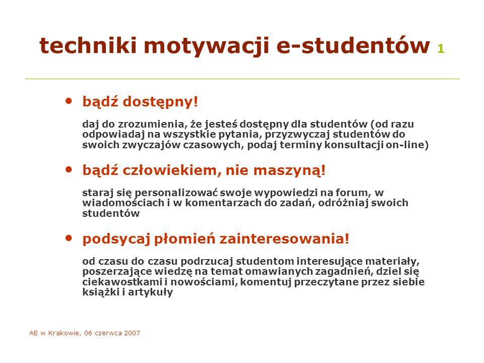 AE w Krakowie, 06 czerwca 2007 techniki motywacji e-studentów 1 bądź dostępny.
