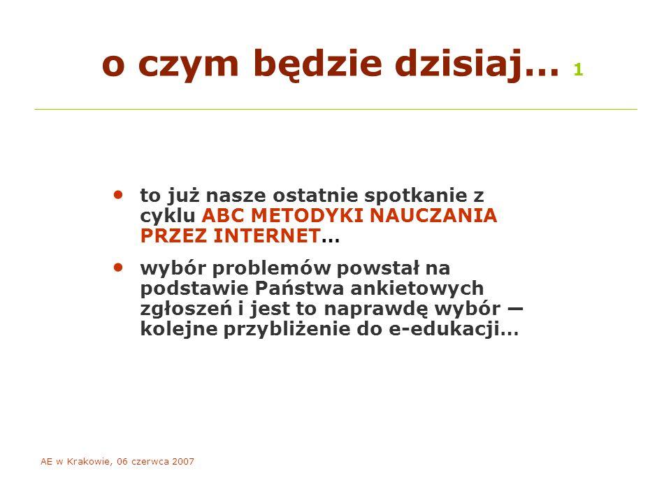 AE w Krakowie, 06 czerwca 2007 o czym będzie dzisiaj… 2 porozmawiamy o tym, co zrobić, aby powstał dobry e-kurs… jak zaangażować studentów… jak przygotować się do dyskusji on-line i jak ją skutecznie moderować… jak nie zwariować prowadząc e-kurs…
