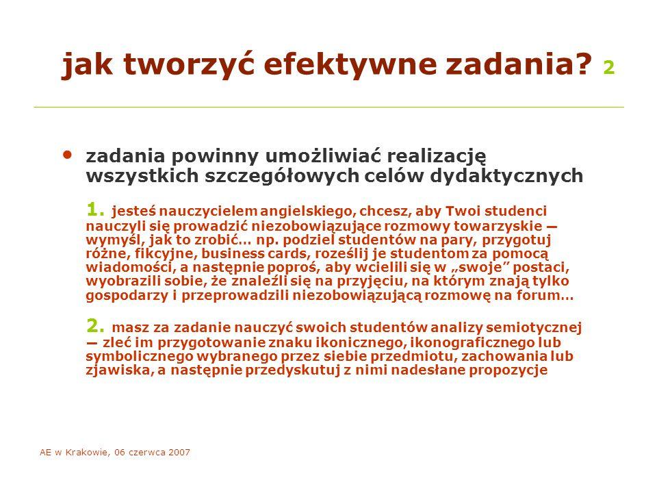 AE w Krakowie, 06 czerwca 2007 techniki motywacji e-studentów 2 mobilizuj pilnych.