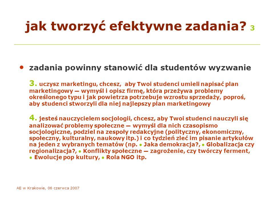 AE w Krakowie, 06 czerwca 2007 o ocenianiu ku przypomnieniu 1 ocena studenta powinna obejmować: – przyswojenie i rozumienie określonego w celach dydaktycznych zakresu treści programowych – sprawność stosowania zdobytej wiedzy w praktyce, umiejętność analizy problemów, syntezy oraz ewaluacji zdobytej wiedzy – aktywność na zajęciach podlegające ocenie zachowanie e-studenta musi być obserwowalne w Internecie!