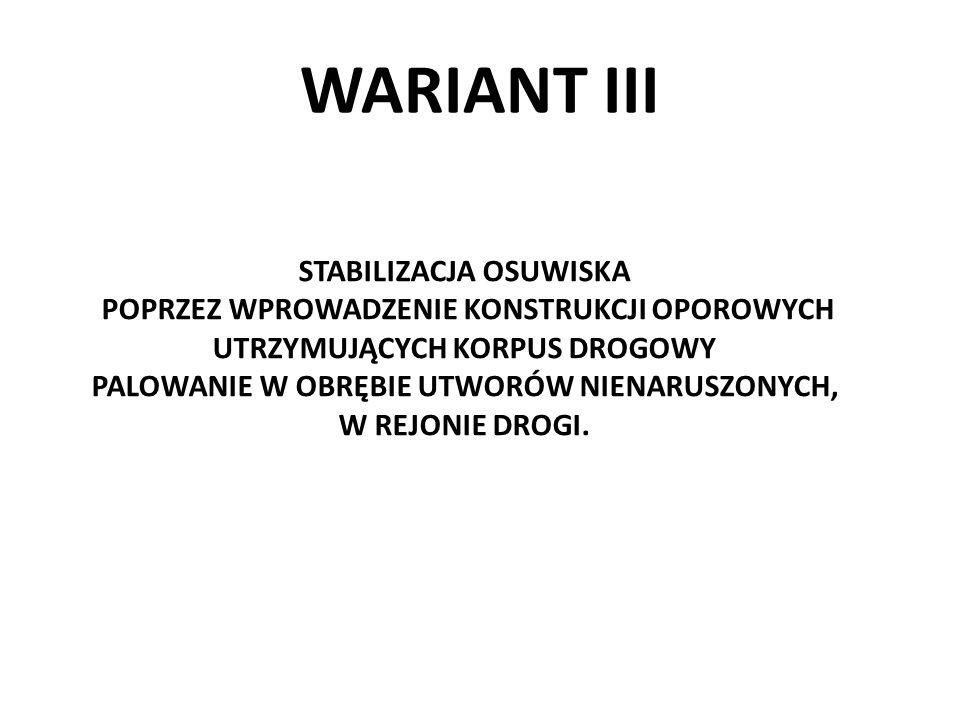 WARIANT III STABILIZACJA OSUWISKA POPRZEZ WPROWADZENIE KONSTRUKCJI OPOROWYCH UTRZYMUJĄCYCH KORPUS DROGOWY PALOWANIE W OBRĘBIE UTWORÓW NIENARUSZONYCH,