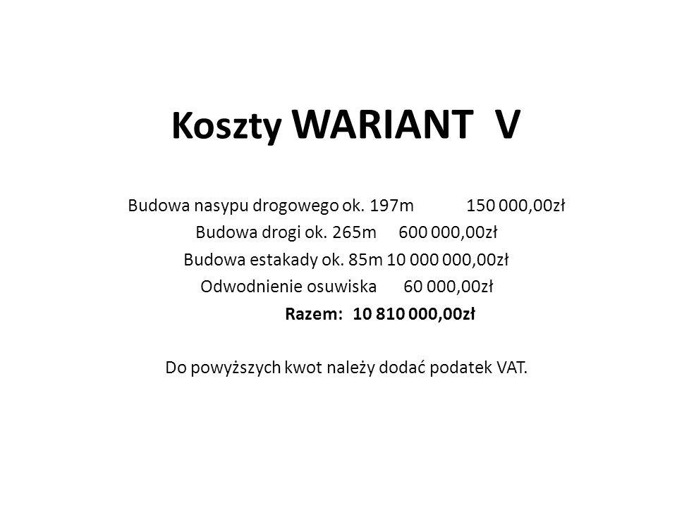 Koszty WARIANT V Budowa nasypu drogowego ok.197m150 000,00zł Budowa drogi ok.