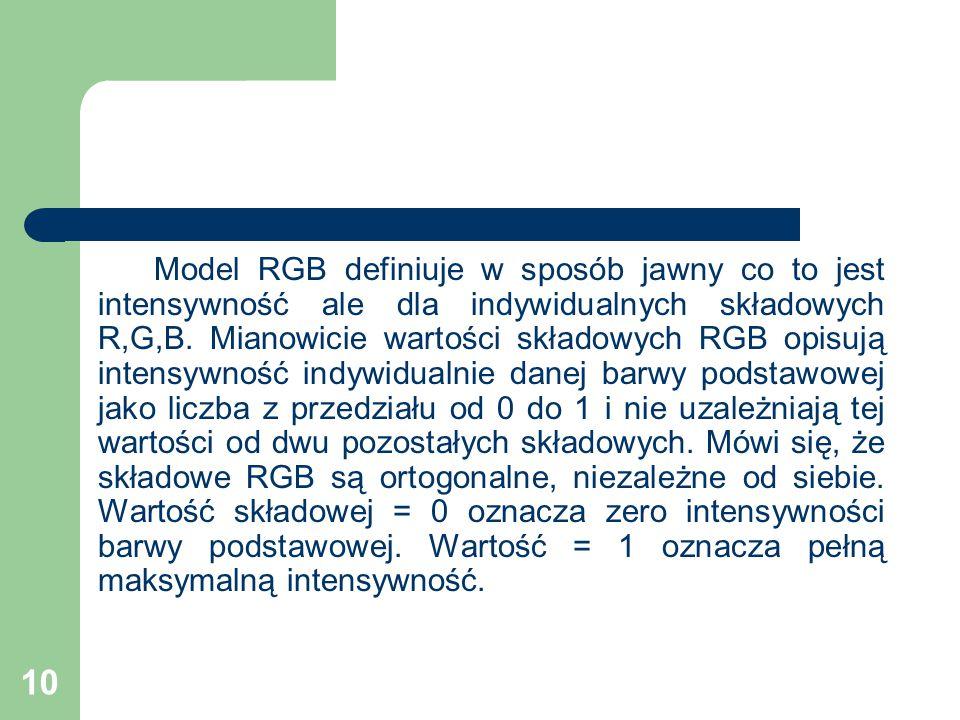 10 Model RGB definiuje w sposób jawny co to jest intensywność ale dla indywidualnych składowych R,G,B.