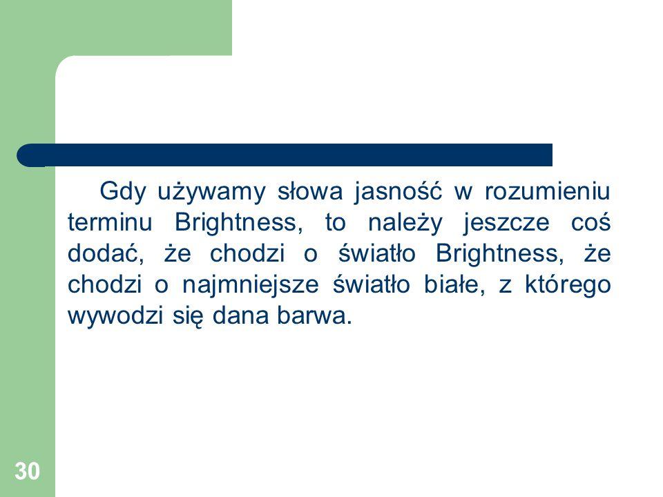 30 Gdy używamy słowa jasność w rozumieniu terminu Brightness, to należy jeszcze coś dodać, że chodzi o światło Brightness, że chodzi o najmniejsze światło białe, z którego wywodzi się dana barwa.