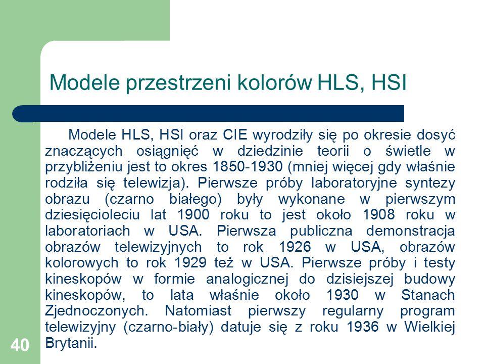 40 Modele przestrzeni kolorów HLS, HSI Modele HLS, HSI oraz CIE wyrodziły się po okresie dosyć znaczących osiągnięć w dziedzinie teorii o świetle w przybliżeniu jest to okres 1850-1930 (mniej więcej gdy właśnie rodziła się telewizja).