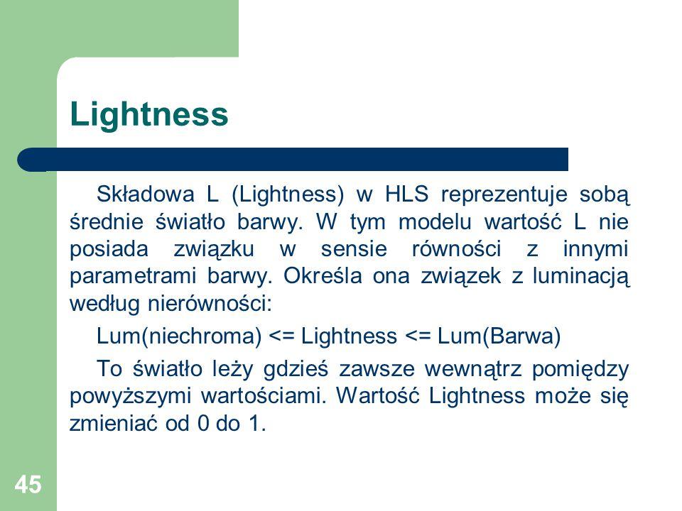 45 Lightness Składowa L (Lightness) w HLS reprezentuje sobą średnie światło barwy.