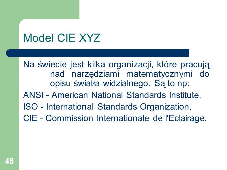 48 Model CIE XYZ Na świecie jest kilka organizacji, które pracują nad narzędziami matematycznymi do opisu światła widzialnego.