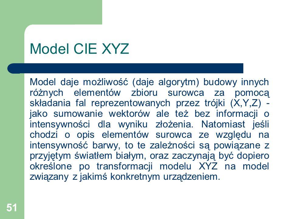 51 Model CIE XYZ Model daje możliwość (daje algorytm) budowy innych różnych elementów zbioru surowca za pomocą składania fal reprezentowanych przez trójki (X,Y,Z) - jako sumowanie wektorów ale też bez informacji o intensywności dla wyniku złożenia.