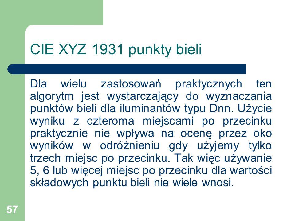 57 CIE XYZ 1931 punkty bieli Dla wielu zastosowań praktycznych ten algorytm jest wystarczający do wyznaczania punktów bieli dla iluminantów typu Dnn.