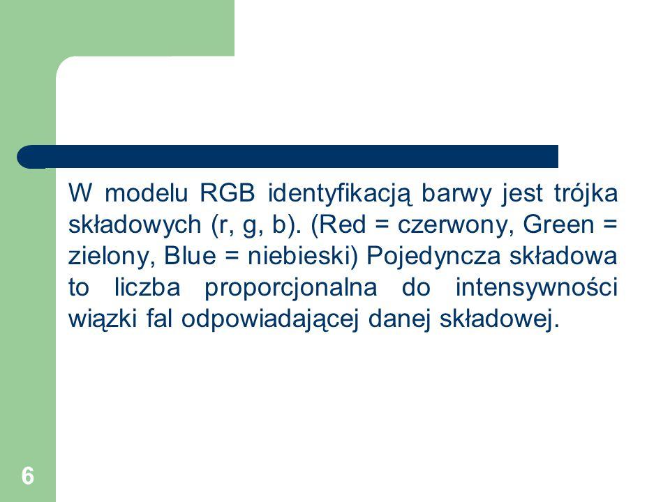 6 W modelu RGB identyfikacją barwy jest trójka składowych (r, g, b).