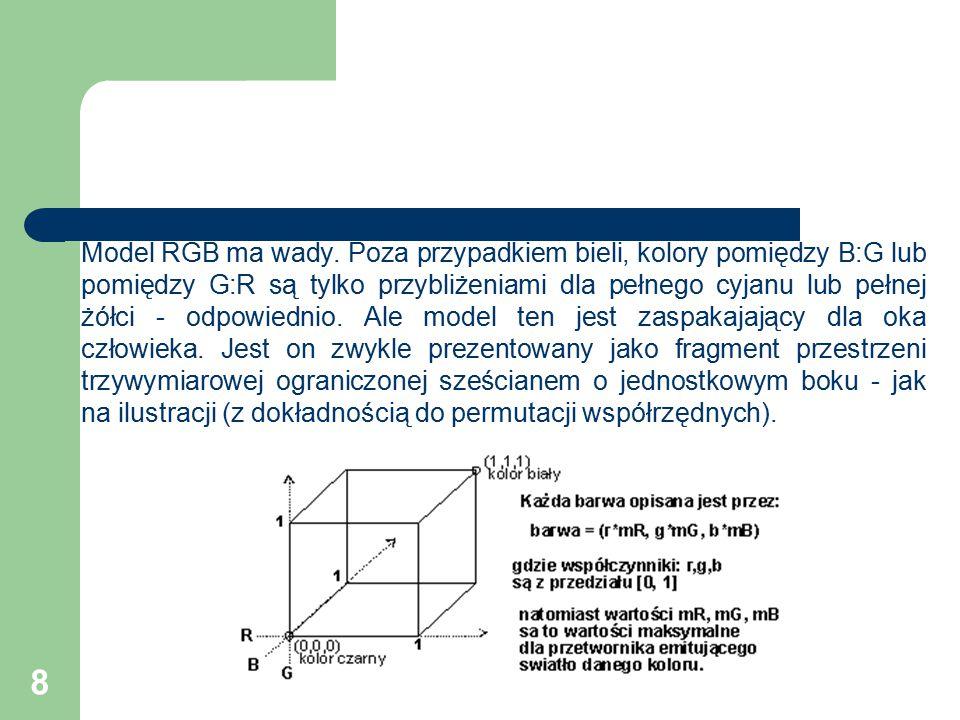 49 Model CIE XYZ Aby wytworzyć takie narzędzia powstała potrzeba unormowania wielu różnych parametrów.