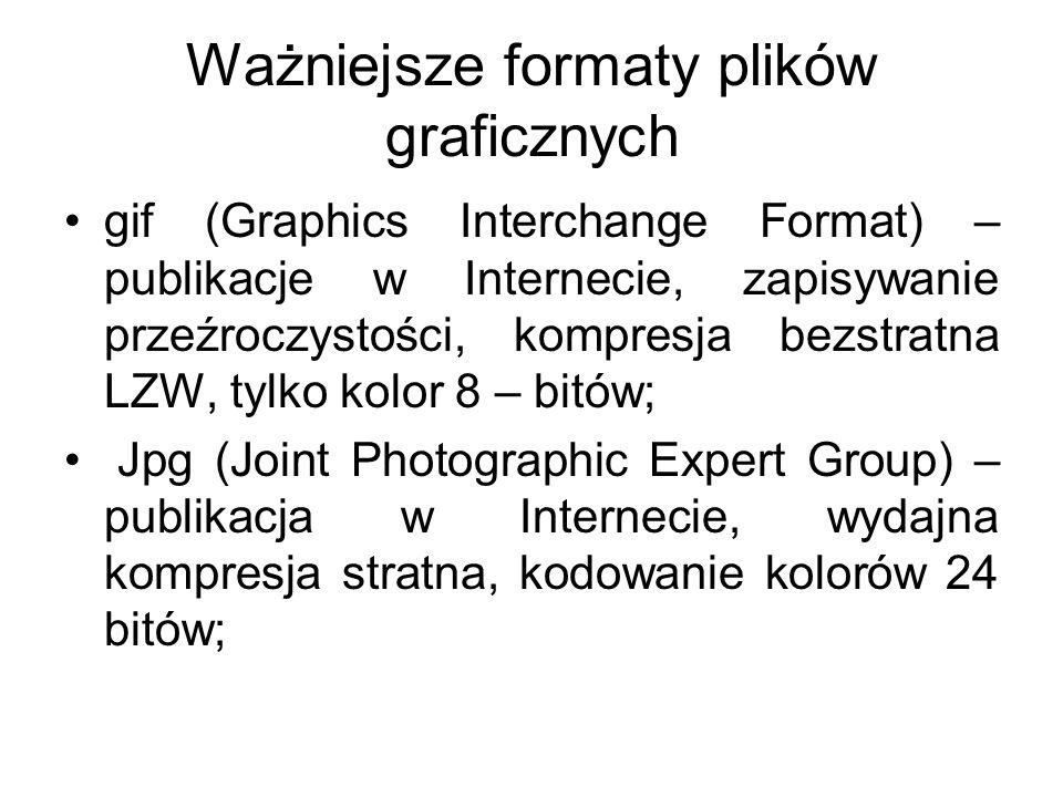 Ważniejsze formaty plików graficznych gif (Graphics Interchange Format) – publikacje w Internecie, zapisywanie przeźroczystości, kompresja bezstratna