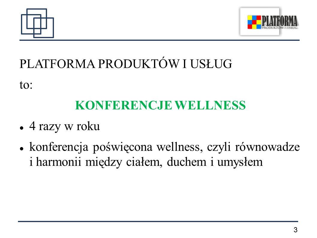 3 PLATFORMA PRODUKTÓW I USŁUG to: KONFERENCJE WELLNESS 4 razy w roku konferencja poświęcona wellness, czyli równowadze i harmonii między ciałem, duchem i umysłem