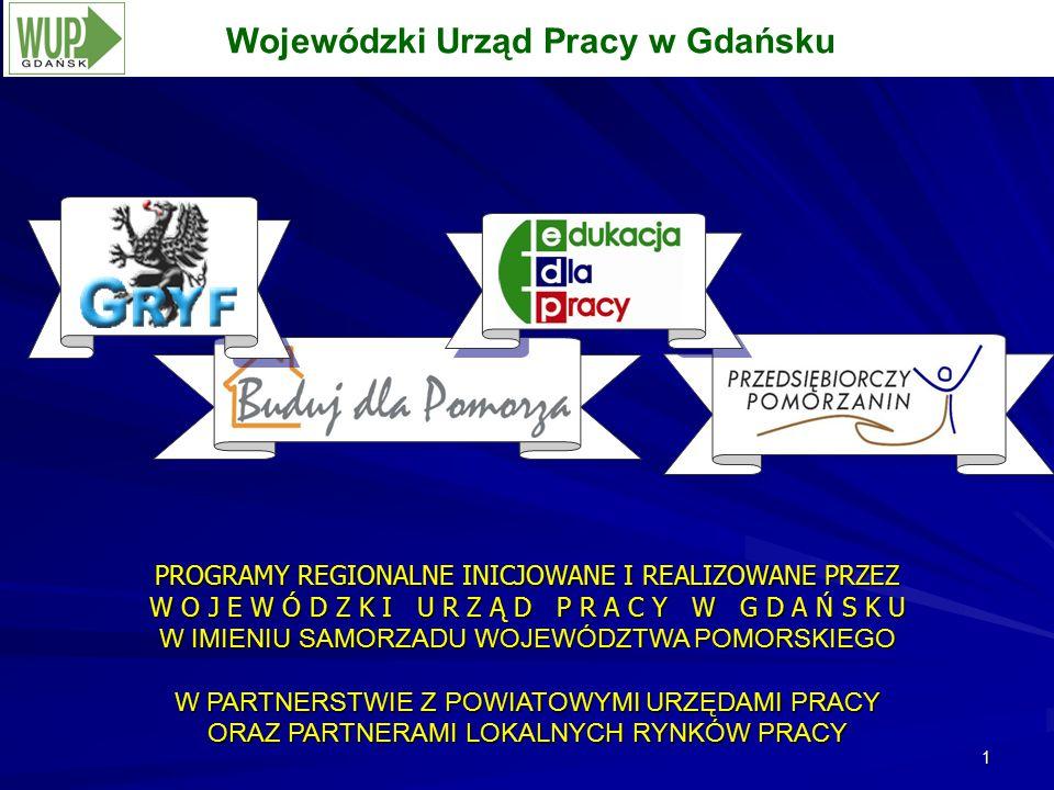 1 Wojewódzki Urząd Pracy w Gdańsku PROGRAMY REGIONALNE INICJOWANE I REALIZOWANE PRZEZ W O J E W Ó D Z K I U R Z Ą D P R A C Y W G D A Ń S K U W IMIENIU SAMORZADU WOJEWÓDZTWA POMORSKIEGO W PARTNERSTWIE Z POWIATOWYMI URZĘDAMI PRACY ORAZ PARTNERAMI LOKALNYCH RYNKÓW PRACY