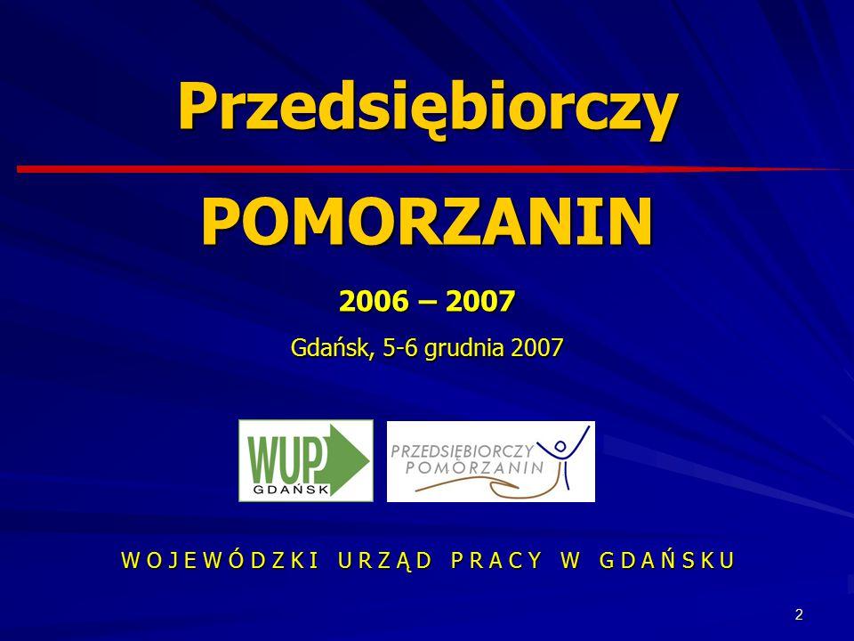2 W O J E W Ó D Z K I U R Z Ą D P R A C Y W G D A Ń S K U Przedsiębiorczy POMORZANIN 2006 – 2007 Gdańsk, 5-6 grudnia 2007