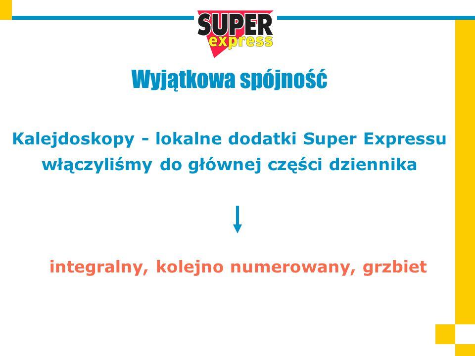 Wyjątkowa spójność Kalejdoskopy - lokalne dodatki Super Expressu włączyliśmy do głównej części dziennika integralny, kolejno numerowany, grzbiet
