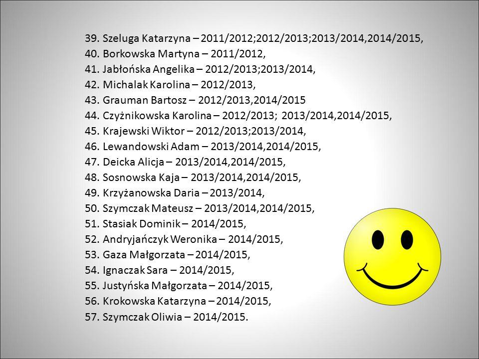 39.Szeluga Katarzyna – 2011/2012;2012/2013;2013/2014,2014/2015, 40.