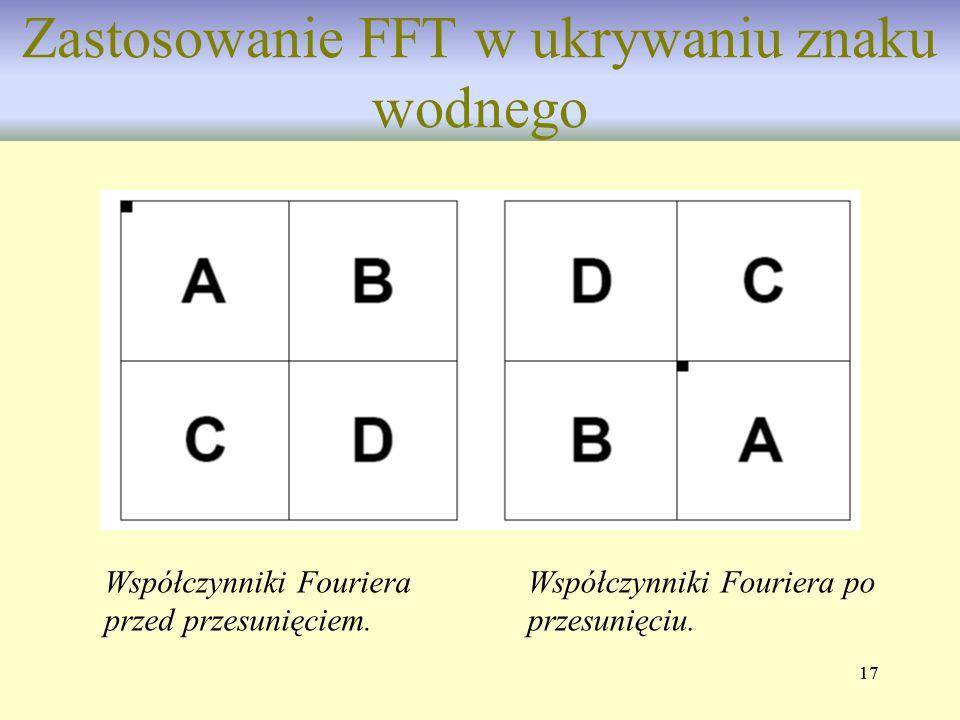 17 Zastosowanie FFT w ukrywaniu znaku wodnego Współczynniki Fouriera przed przesunięciem. Współczynniki Fouriera po przesunięciu.