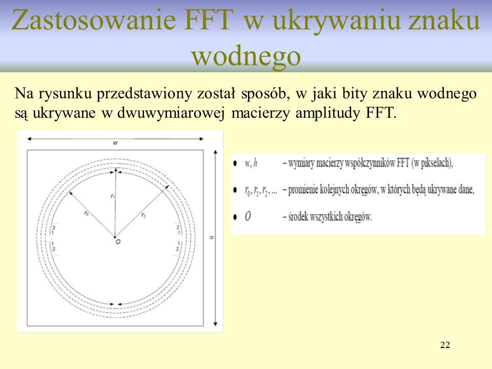 22 Zastosowanie FFT w ukrywaniu znaku wodnego Na rysunku przedstawiony został sposób, w jaki bity znaku wodnego są ukrywane w dwuwymiarowej macierzy a