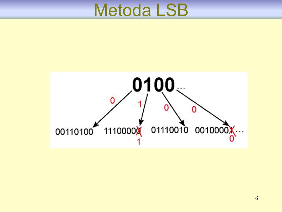 77 Schemat kodowania LSB typu (3,3,3) Metoda umożliwia osadzenie trzech bitów znaku w bloku trzybitowym przy zmianie co najwyżej trzech bitów obrazu- nośnika.