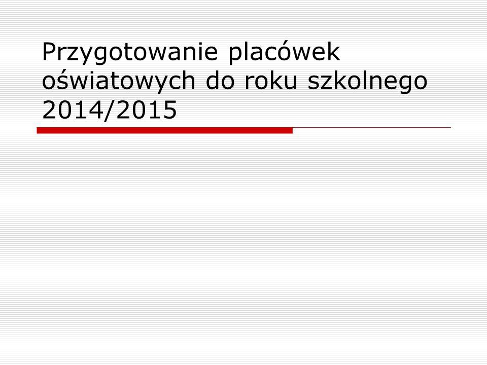 Przygotowanie placówek oświatowych do roku szkolnego 2014/2015