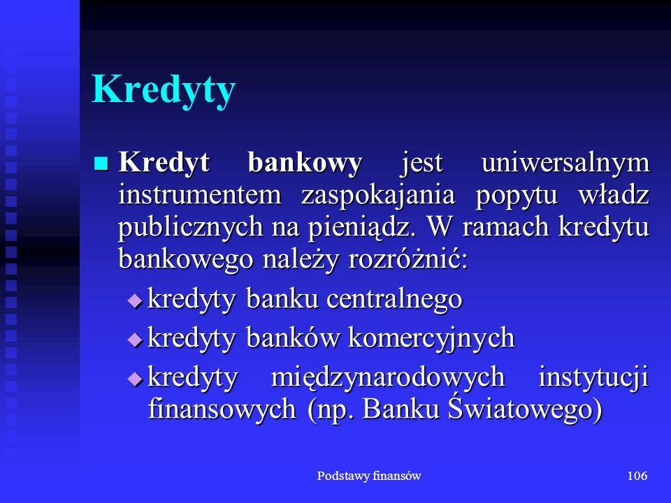 Podstawy finansów106 Kredyty Kredyt bankowy jest uniwersalnym instrumentem zaspokajania popytu władz publicznych na pieniądz. W ramach kredytu bankowe
