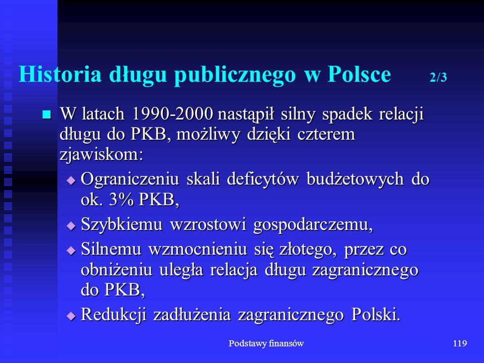 Podstawy finansów119 Historia długu publicznego w Polsce 2/3 W latach 1990-2000 nastąpił silny spadek relacji długu do PKB, możliwy dzięki czterem zja