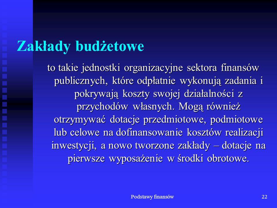 Podstawy finansów22 Zakłady budżetowe to takie jednostki organizacyjne sektora finansów publicznych, które odpłatnie wykonują zadania i pokrywają kosz