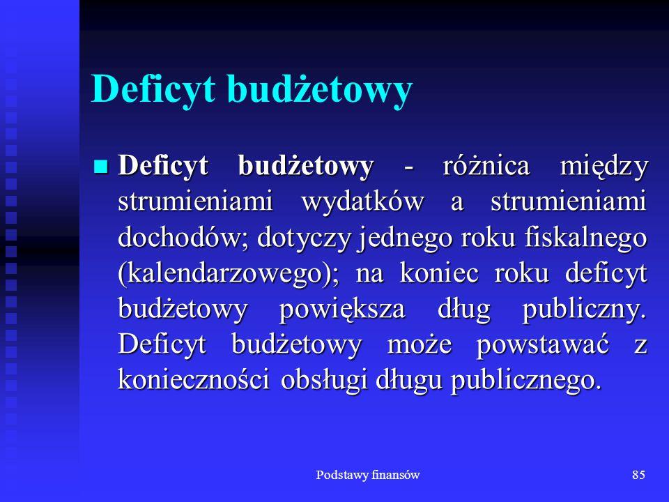 Podstawy finansów85 Deficyt budżetowy Deficyt budżetowy - różnica między strumieniami wydatków a strumieniami dochodów; dotyczy jednego roku fiskalneg
