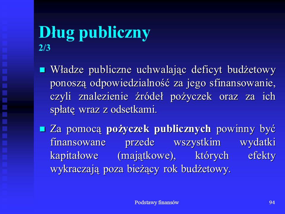 Podstawy finansów94 Dług publiczny 2/3 Władze publiczne uchwalając deficyt budżetowy ponoszą odpowiedzialność za jego sfinansowanie, czyli znalezienie