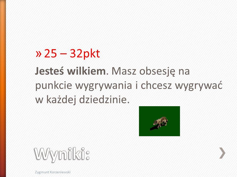 » 25 – 32pkt Jesteś wilkiem.