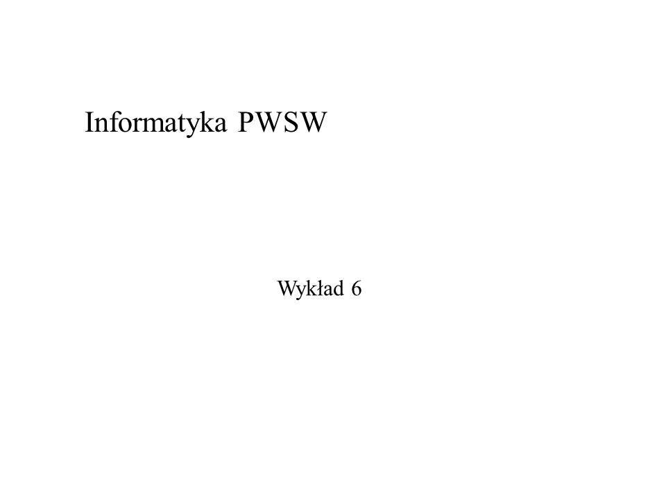 Wykład 6 Informatyka PWSW
