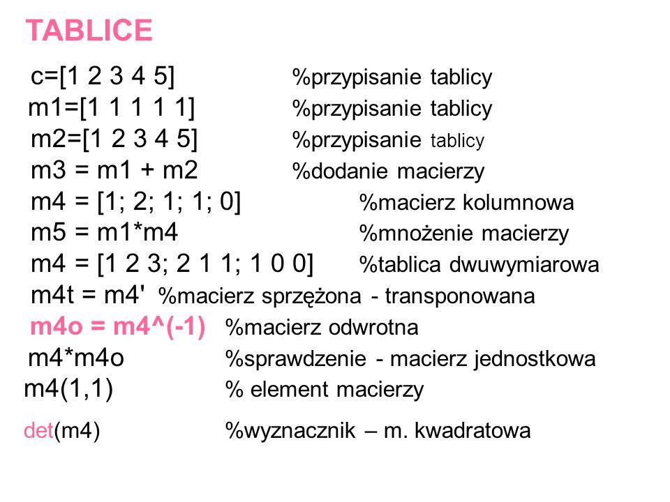 TABLICE c=[1 2 3 4 5] %przypisanie tablicy m1=[1 1 1 1 1] %przypisanie tablicy m2=[1 2 3 4 5] %przypisanie tablicy m3 = m1 + m2 %dodanie macierzy m4 =