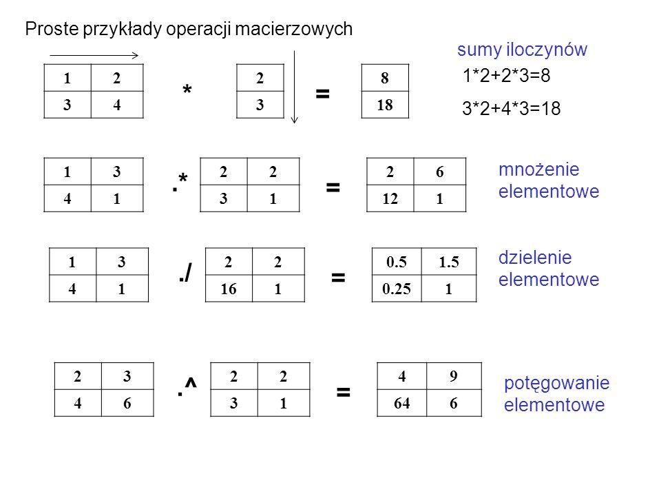 12 34 8 18 2 3 13 41 22 31 26 121 *= sumy iloczynów.* = 13 41 22 161 0.51.5 0.251./ = 23 46 22 31 49 646.^ = Proste przykłady operacji macierzowych 1*