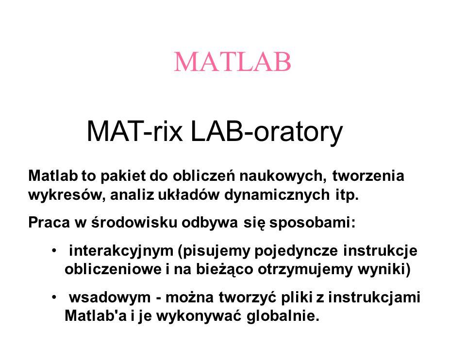 MATLAB MAT-rix LAB-oratory Matlab to pakiet do obliczeń naukowych, tworzenia wykresów, analiz układów dynamicznych itp. Praca w środowisku odbywa się
